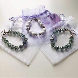 Jewelry - NWT Set of 3 Sterling Silver and Crystal Bracelets